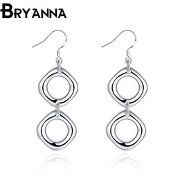 Bryanna 925 Sterling Silver Charm Earrings for women Fashion Jewelry Wholesale Wedding Gifts Double square Drop Earrings E2024