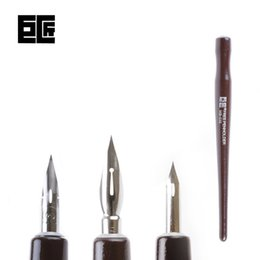 Descuento sistemas de la pluma de madera Venta al por mayor- LifeMaster Japón Tachikawa Dip Pen Set (3 plumillas (G / D / Maru pluma pluma) una manija de madera) para Manga / Cartoon Design Art Set