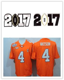 Wholesale 2017 College Football Playoff Diamond Jersey Clemson Tigers Deshaun Watson orange gear with BCS patch Embroidery Size S XL