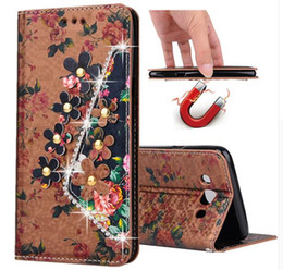 Magnetic Carving Flower Flip Stand Leather Diamond Wallet Case Women Lady Phone Back Cover For Iphone 7 6s plus 5se Samsung Galaxy S6 S7edge