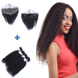 8A Top Grade Ear To Ear 13x4 Lace Frontal Closures With 4 Bundles Brazilian Peruvian Malaysian Deep Wave Curly Virgin Human Hair Weaves