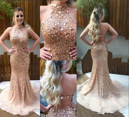 2017 Luxury Crystal Mermaid Prom Dresses Halter Beading Backless Champagne Tulle Evening Party Gowns Sexy Backless Evening Pageant Dresses