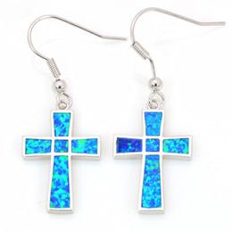 Wholesale & Retail Fashion Blue Fine Fire Opal Earrings 925 Silver Plated Jewelry EMT16041703