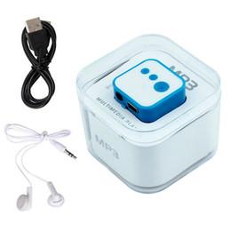 2017 mp3 mémoire lecteur 1gb Vente en gros - Mini lecteur MP3 Câble USB Chargeur Mini Cube Lecteur de musique Support Micro TF Carte mémoire 3.5mm Jack Earphone Free Gift budget mp3 mémoire lecteur 1gb