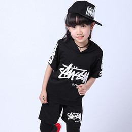 Black kids Adults Hip Hop dancewear cosutmes outfits Boys Girls Morden Jazz Ballroom performacen Party dancing clothes Tops+Pants
