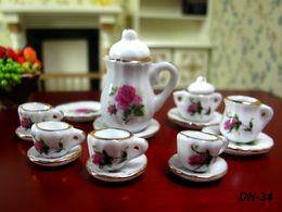Wholesale 15pcs set Dollhouse Miniature China teaware Furniture Toys Accessories Mini Porcelain Coffee Tea Cup pot dish for doll house model gift