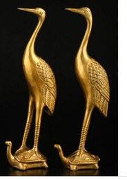 Wholesale Copper Brass craft collecting OLD copper Elaborate Old crafts Brass pc only Exquisite Chinese Classical Golden Crane Bird Standin