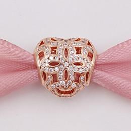 Corazón del oro de la pulsera 925 en Línea-Día de San Valentín 925 cuentas de plata Rose Operwork corazón encanto con claro Cz se adapta a Europa Pandora estilo joyas pulseras 780003CZ oro chapado