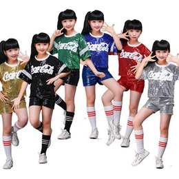 Kids Jazz Party Stage dance Show Costumes New Girls Performance Jazz Dance Clothes Outfits Hip Hop Costume Sequined Dance wear tops+Pants