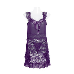 2017 Women Sexy Lace Transparent Backless Slip Dress see-throughs Nightdress Lingerie with Panties purple black pink lin tai
