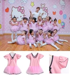 Brand new Kids Girls Pink Flounces Short Sleeve Lycra Cotton Dance Ballet Dress Veil Skirt Dancewear