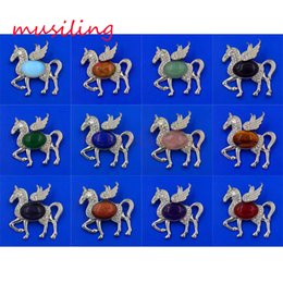 Wholesale Pendant Horse Pegasus Pendant Natural Stone Pendant Jewelry Opal Lapis Lazuli etc Silver Plated Accessories Fashion Jewelry Mix Order