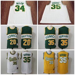 2017 maillots de sport # 35 Kevin Durant Jersey Hommes # 34 Ray Allen # 20 Gary Payton Throwback Seattle Supersonics Basketball Jerseys Super sonics For Sport Fans maillots de sport promotion
