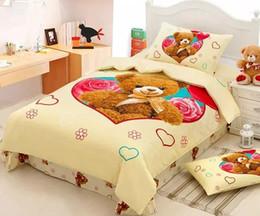 Wholesale Teddy Bear Bedding set duvet cover bed in a bag sheet Cartoon cute Baby Kids children bedspread bedroom Queen size Twin Cotton