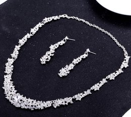Wholesale Both of hit the bride adorn article alloy woolly crystal necklace earrings wedding accessories accessories diamond
