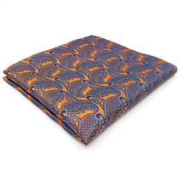UH26 Paisley Orange Blue Handkerchiefs Neckties Silk Hanky Pocket Square Silk Big Size Wedding