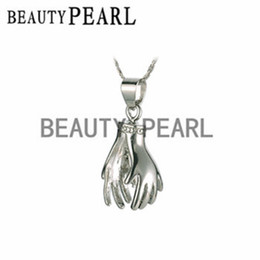Wholesale 10 pieces Praying Hands Cage Pendant Copper Wish Love Pearl Cage Pick a Pearl Cage