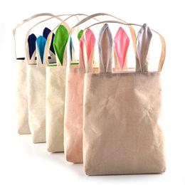 Wholesale 5 Colors Funny Design Easter Bunny Bag Ears Bags Cotton Material Easter Burlap Celebration Gifts Christmas Bag Cotton Handbag New