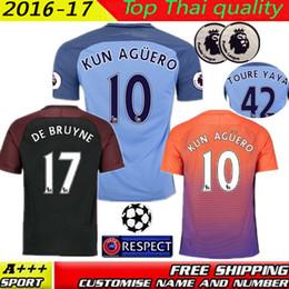 Wholesale Players or fans best quality Manchesters City Jerseys KUN AGUERO DE BRUYNE STERLING SILVA TOURE YAYA football shirt