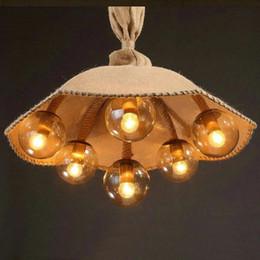 Vintage linen umbrella chandelier Handmade hemp linen Light Creative personality lights 6heads E27 lamps Cafe Bar Restaurant lighting