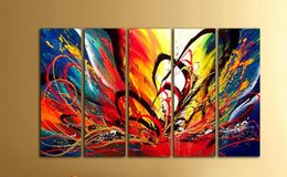 5 Pieces Hand Painted Abstract Oil Painting Modern Canvas Painting Unframed Wall Art Paintings for Living Room Home Decoration