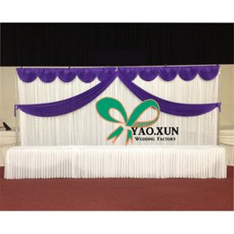White Wedding Backdrop With Top Swags \ Wedding Curtain 3m*6m Free shipping