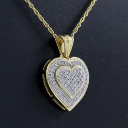Beaux colliers à vendre-Pendentif coeur magnifique en 10k en or massif diamant naturel avec chaîne collier
