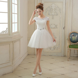2017 White Evening Dresses Romantic Girls Women Cap Sleeve Bride Gown Fashion High Neck Ball Prom Party Homecoming Graduation Formal Dress
