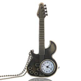 Wholesale Antique Guitar Shape Quartz Pocket Watch Necklace Pendant Girls Women Gift P130