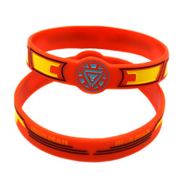 Wholesale 50PCS Lot Iron Man Silicone Wristband Debossed And Filled in Colour Adult Size, Wrist Watch Shape Bracelet