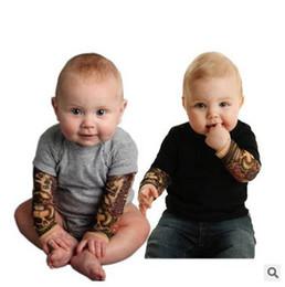 2017 ropa tatuado Forme a bebé el tatuaje imprimió el mono del mono del bebé de la manga del bebé del mono de los bebés embroma el equipo v208 de los niños de la ropa de la primavera / del otoño ropa tatuado Rebaja