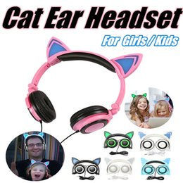 Wholesale Foldable Flashing Glowing Cat Ear Headphones Headband Earphones mm Music Gaming Headset With LED light For Iphone Computer Cell Phone MP3