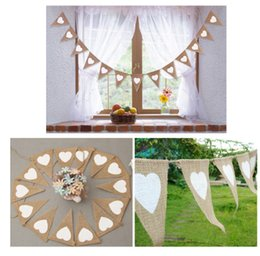 Bannière de bourrage de tissu en Ligne-2017 13pcs Jute Fabric Bunting Banner blanc Heart Flags Vintage Wedding Party Burlap Bannières Rustic wedding decoration Cent