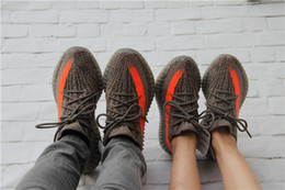 Wholesale 2016 Mens Women V2 boost Grey Orange Shoe Running Shoes Boots sneakers Low cut Shoes Sports Shoes Best Price With Original Box