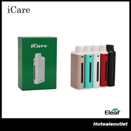 Wholesale Authentic iSmoka Eleaf iCare Starter Kit mah Battery ml Adjustable Airflow Tank Atomizer With New IC Heads Original