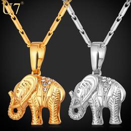 Wholesale U7 Lucky Jewelry Gold Plated Thailand Elephant Necklace Trendy Rhinestone Crystal Animal Pendant Necklace Women Gift P563