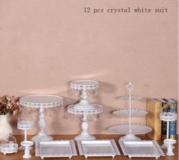 12 pièces / lot blanc gâteau stand mariage cupcake stand ensemble verre dôme cristal candy bar décoration gâteau outils bakeware ensemble à partir de supports métalliques pour le verre fabricateur