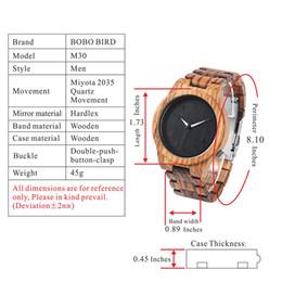 BOBO BIRD M30 Relojes de madera Top Marca de lujo de Nueva Saat Erkekler Zebra reloj de madera Reloj de hombres de tamaño en caja de regalo de papel desde cajas de madera relojes proveedores