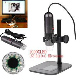 2017 soportes de cámaras digitales Venta al por mayor Mini cámara de vídeo portátil de la lupa del endoscopio del microscopio del USB Digital de 8LED 1000X 10MP con el soporte descuento soportes de cámaras digitales