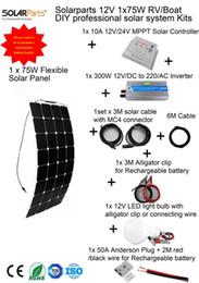 Solarparts 1x100W Профессиональный DIY RV / лодки / Морские комплекты Солнечная домашняя система 100W гибкие солнечные панели контроллер MPPT инвертора LED от Производители р.в. комплекты солнечных панелей