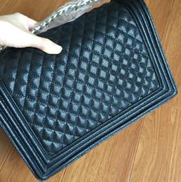 2017 chaîne grand sac Grossiste-marque de conception véritable sac en cuir véritable sac à bandoulière de grande taille, vente chaude sac de chaîne de caviar matelassé, sac à main de mode femmes freeshipping chaîne grand sac autorisation