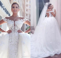 Vestidos De Novia 2017 Luxury Wedding Dresses with Detachable Train Off the Shoulder Full Lace Wedding Gowns Custom Made African Bridal Gown