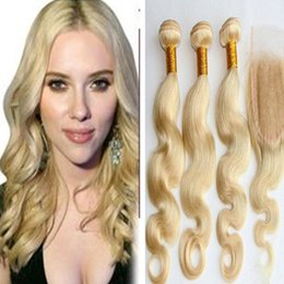 #613 Blonde Brazilian RemyHuman Hair body wave with top lace closure virginhair weaves wavy extensions 3bundles with closure free shipping
