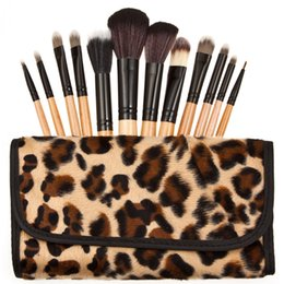 Almacenamiento de maquillaje de madera en Línea-El cepillo de madera del maquillaje del polvo de la manera 12pcs con las herramientas del maquillaje del bolso del almacenaje del leopardo fija el kit + B