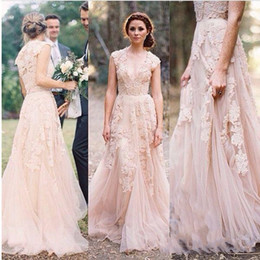 Vintage 2019 Lace Wedding Dresses Champagne Sweetheart Ruffles Bridal Gown Cap Sleeve Deep V Neck Garden Reem Acra Lace Bridal Gowns