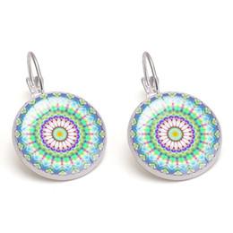 Green Mandala Flowers Glass Cabochon Earrings Purple Dangle Copper Women Charm Fashion Jewelry Wholesale Drop Shipping