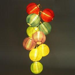 Descuento el mejor precio llevó las luces de navidad Venta al por mayor-Mejor precio batería operado 10 LED luz de la cadena de banquete de boda de Navidad Jardín al aire libre chino linterna DC3V