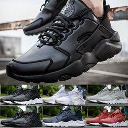 Air en cuir libre en Ligne-2016 Nouvelles Top qualité PU Cuir Air Huarache Ultra courir chaussures transpirable noir unisexe Taille Sneakers 5.5-11 36-45 Livraison gratuite