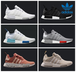 Wholesale Adidas NMD Runner R1 Mesh Triple White Cream Salmon City Pack Men Women Running Shoes Sneakers Originals Fashion NMD Runner Primeknit Sports