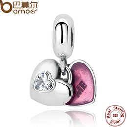 Wholesale BAMOER Sterling Silver You Me Two Part Clear CZ Fuchsia Enamel Charms for Female Bracelets amp Bangles Jewelry PAS273